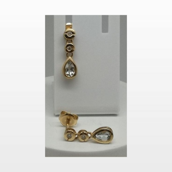Boucles d'oreille aigue marine diamants