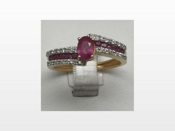 bague or rubis diamants