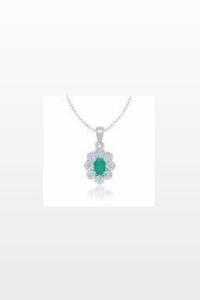 Pendentif or émeraude diamant